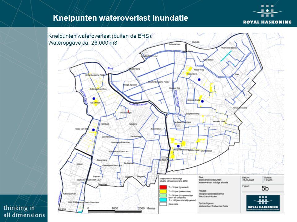 Knelpunten wateroverlast inundatie Knelpunten wateroverlast (buiten de EHS), Wateropgave ca. 26.000 m3