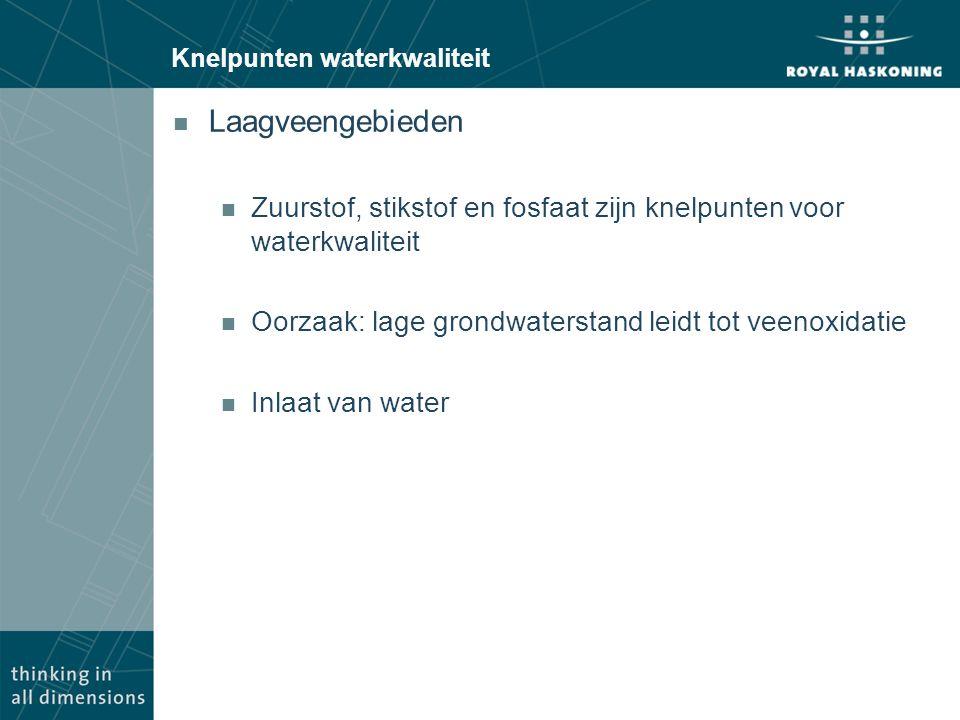 Knelpunten waterkwaliteit n Laagveengebieden n Zuurstof, stikstof en fosfaat zijn knelpunten voor waterkwaliteit n Oorzaak: lage grondwaterstand leidt