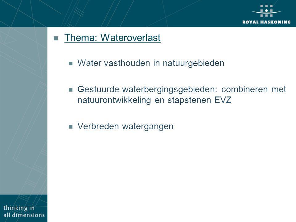 n Thema: Wateroverlast n Water vasthouden in natuurgebieden n Gestuurde waterbergingsgebieden: combineren met natuurontwikkeling en stapstenen EVZ n V