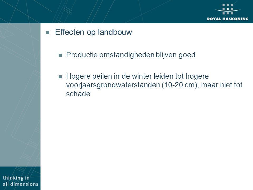 n Effecten op landbouw n Productie omstandigheden blijven goed n Hogere peilen in de winter leiden tot hogere voorjaarsgrondwaterstanden (10-20 cm), m