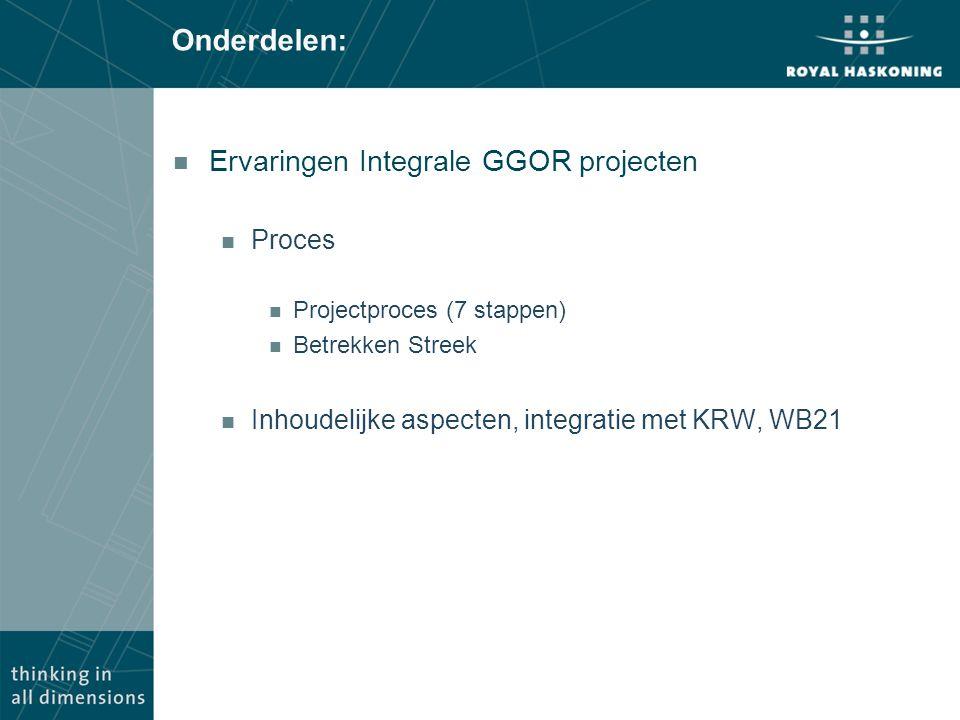 Onderdelen: n Ervaringen Integrale GGOR projecten n Proces n Projectproces (7 stappen) n Betrekken Streek n Inhoudelijke aspecten, integratie met KRW,