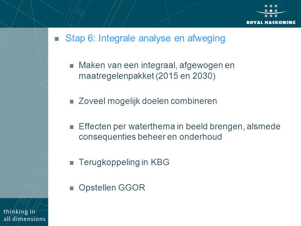 n Stap 6: Integrale analyse en afweging n Maken van een integraal, afgewogen en maatregelenpakket (2015 en 2030) n Zoveel mogelijk doelen combineren n