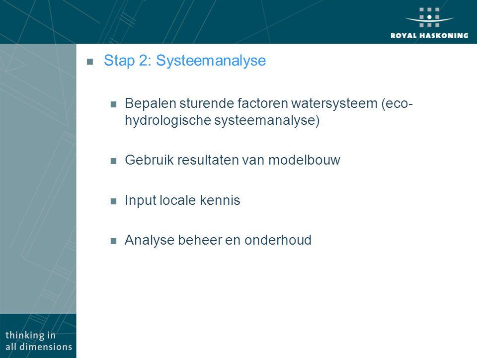n Stap 2: Systeemanalyse n Bepalen sturende factoren watersysteem (eco- hydrologische systeemanalyse) n Gebruik resultaten van modelbouw n Input local