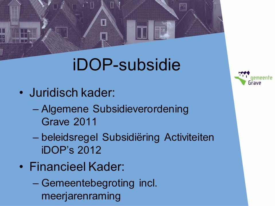 iDOP-subsidie Juridisch kader: –Algemene Subsidieverordening Grave 2011 –beleidsregel Subsidiëring Activiteiten iDOP's 2012 Financieel Kader: –Gemeentebegroting incl.