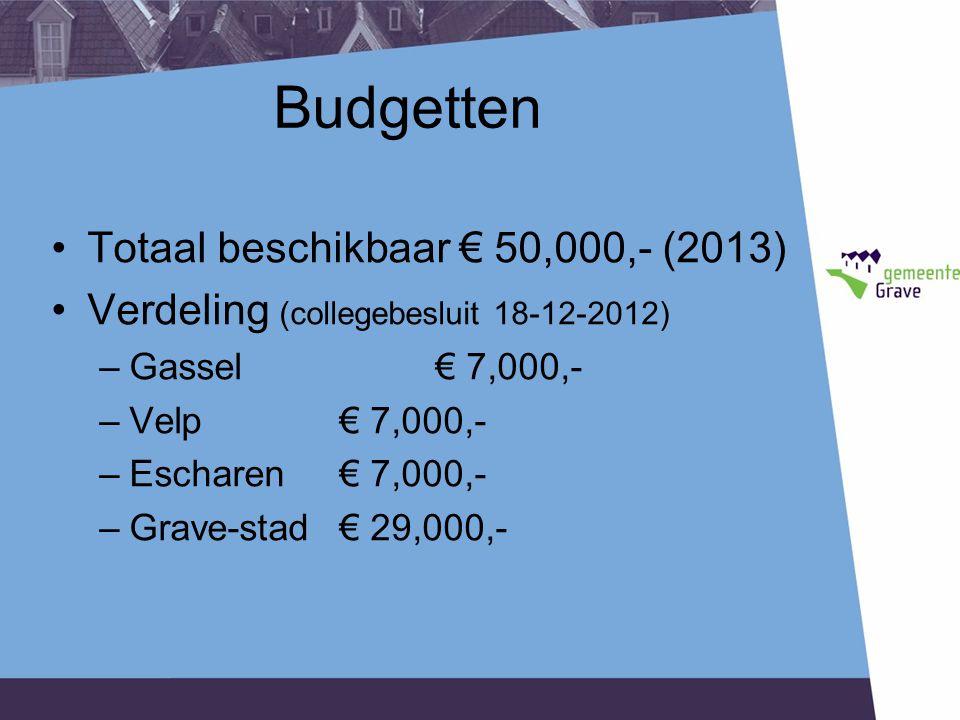 Budgetten Totaal beschikbaar € 50,000,- (2013) Verdeling (collegebesluit 18-12-2012) –Gassel€ 7,000,- –Velp€ 7,000,- –Escharen€ 7,000,- –Grave-stad € 29,000,-