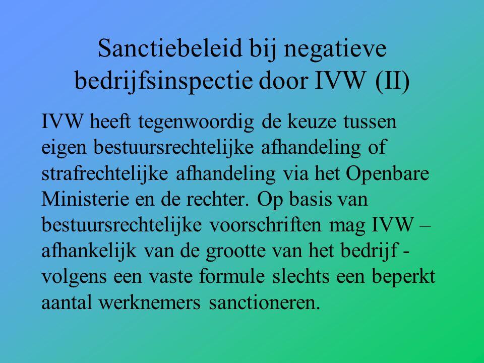 Sanctiebeleid bij negatieve bedrijfsinspectie door IVW (II) IVW heeft tegenwoordig de keuze tussen eigen bestuursrechtelijke afhandeling of strafrechtelijke afhandeling via het Openbare Ministerie en de rechter.