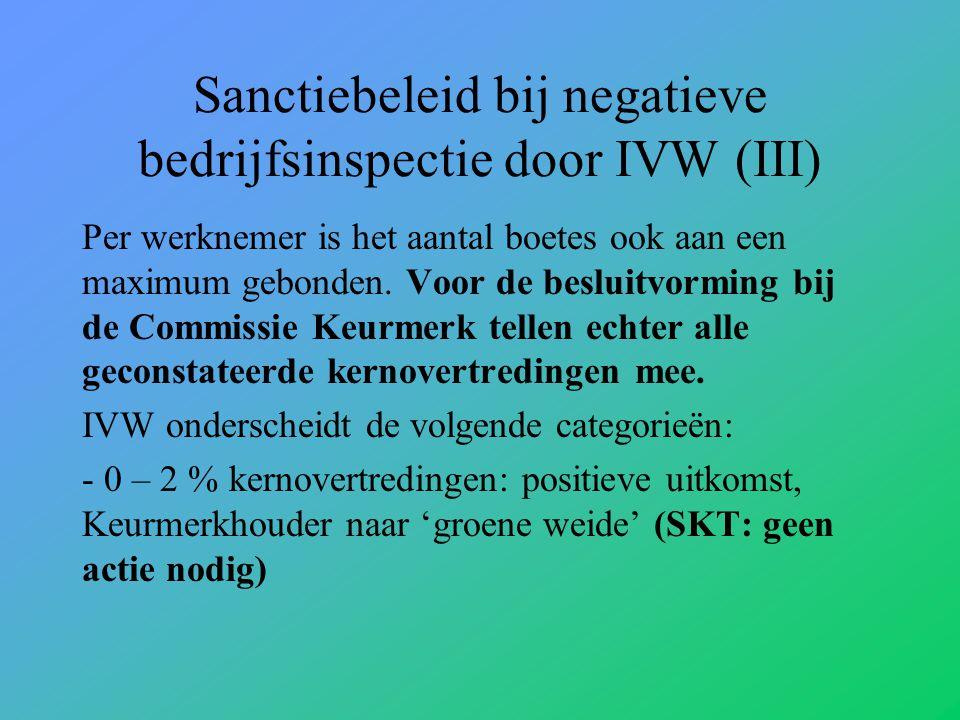 Sanctiebeleid bij negatieve bedrijfsinspectie door IVW (III) Per werknemer is het aantal boetes ook aan een maximum gebonden.