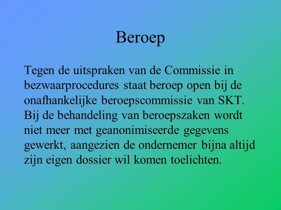 Beroep Tegen de uitspraken van de Commissie in bezwaarprocedures staat beroep open bij de onafhankelijke beroepscommissie van SKT.