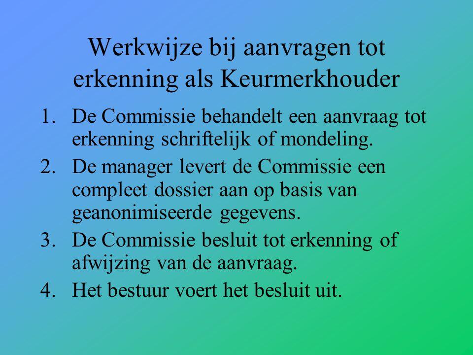 Werkwijze bij aanvragen tot erkenning als Keurmerkhouder 1.De Commissie behandelt een aanvraag tot erkenning schriftelijk of mondeling.