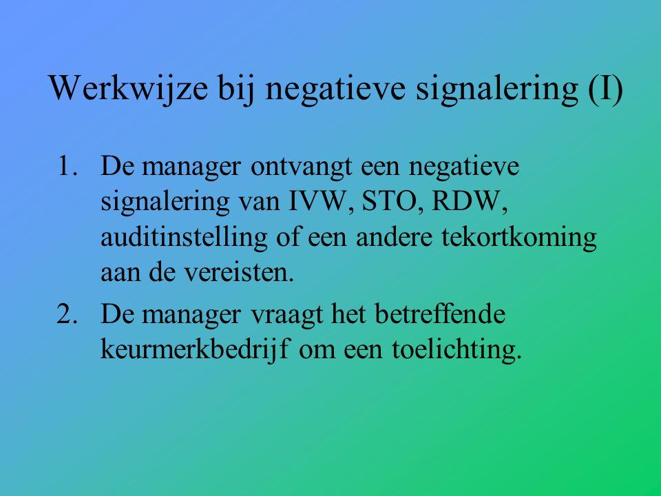 Werkwijze bij negatieve signalering (I) 1.De manager ontvangt een negatieve signalering van IVW, STO, RDW, auditinstelling of een andere tekortkoming aan de vereisten.