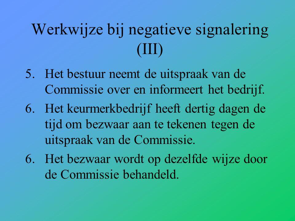 Werkwijze bij negatieve signalering (III) 5.Het bestuur neemt de uitspraak van de Commissie over en informeert het bedrijf.