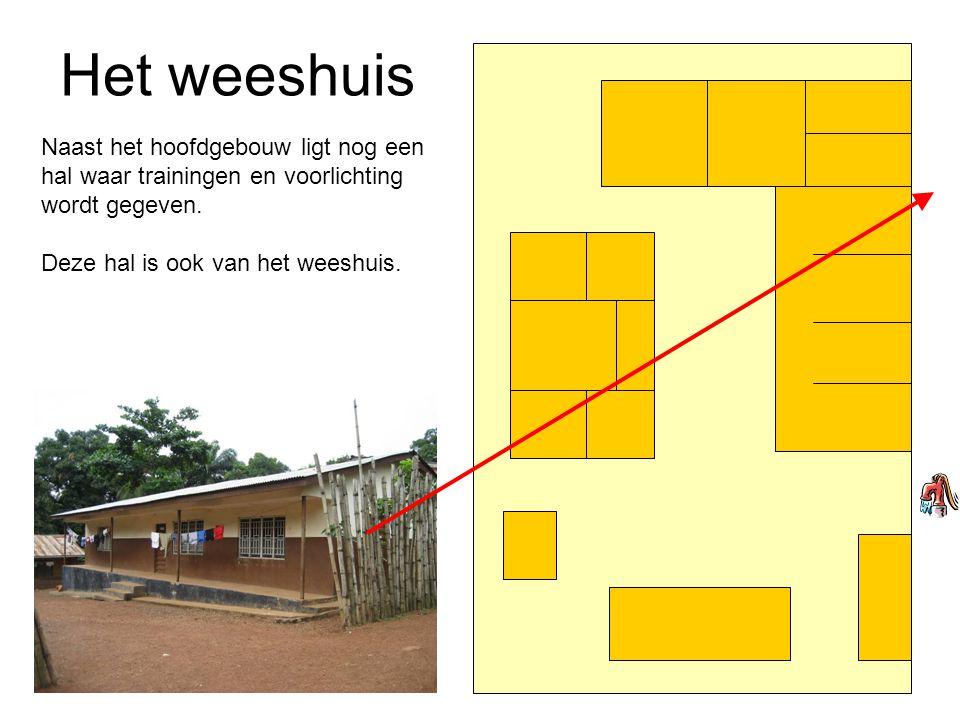 Het weeshuis Naast het hoofdgebouw ligt nog een hal waar trainingen en voorlichting wordt gegeven.