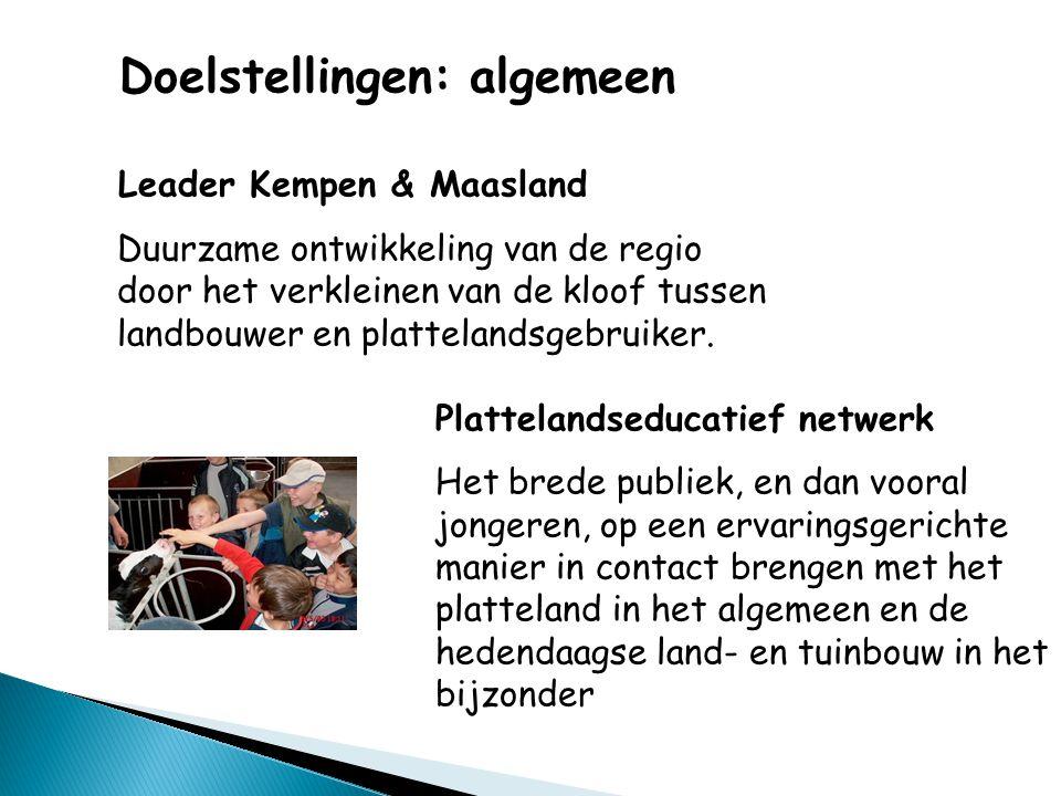 Doelstellingen: algemeen Leader Kempen & Maasland Duurzame ontwikkeling van de regio door het verkleinen van de kloof tussen landbouwer en plattelandsgebruiker.