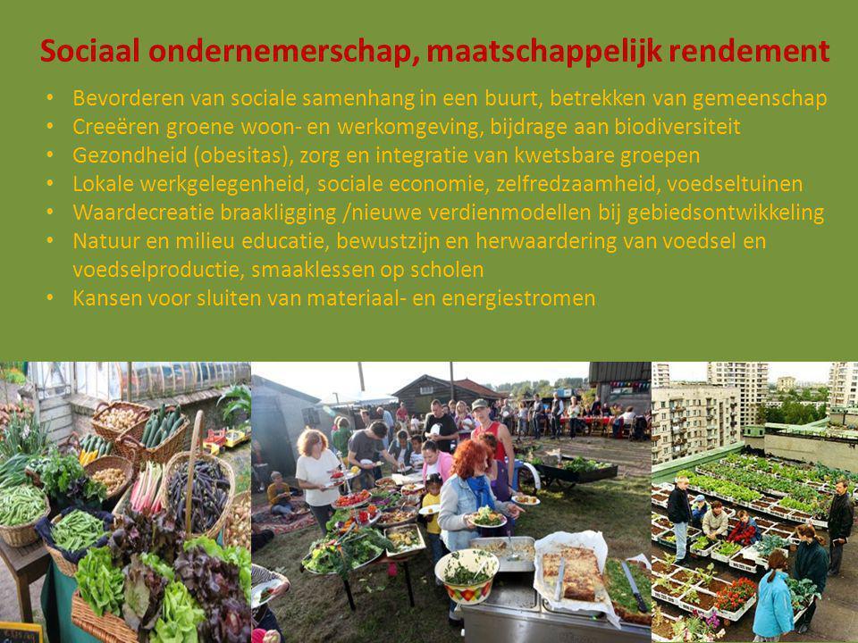 Sociaal ondernemerschap, maatschappelijk rendement Bevorderen van sociale samenhang in een buurt, betrekken van gemeenschap Creeëren groene woon- en werkomgeving, bijdrage aan biodiversiteit Gezondheid (obesitas), zorg en integratie van kwetsbare groepen Lokale werkgelegenheid, sociale economie, zelfredzaamheid, voedseltuinen Waardecreatie braakligging /nieuwe verdienmodellen bij gebiedsontwikkeling Natuur en milieu educatie, bewustzijn en herwaardering van voedsel en voedselproductie, smaaklessen op scholen Kansen voor sluiten van materiaal- en energiestromen