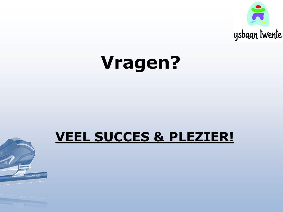 Vragen? VEEL SUCCES & PLEZIER!