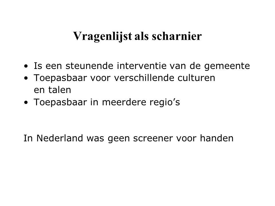 Vragenlijst als scharnier Is een steunende interventie van de gemeente Toepasbaar voor verschillende culturen en talen Toepasbaar in meerdere regio's In Nederland was geen screener voor handen