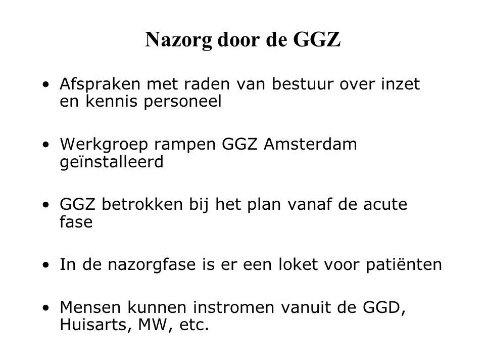 Nazorg door de GGZ Afspraken met raden van bestuur over inzet en kennis personeel Werkgroep rampen GGZ Amsterdam geïnstalleerd GGZ betrokken bij het plan vanaf de acute fase In de nazorgfase is er een loket voor patiënten Mensen kunnen instromen vanuit de GGD, Huisarts, MW, etc.