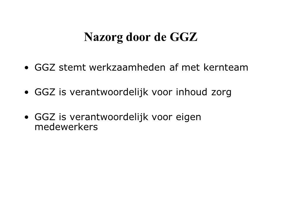 Nazorg door de GGZ GGZ stemt werkzaamheden af met kernteam GGZ is verantwoordelijk voor inhoud zorg GGZ is verantwoordelijk voor eigen medewerkers
