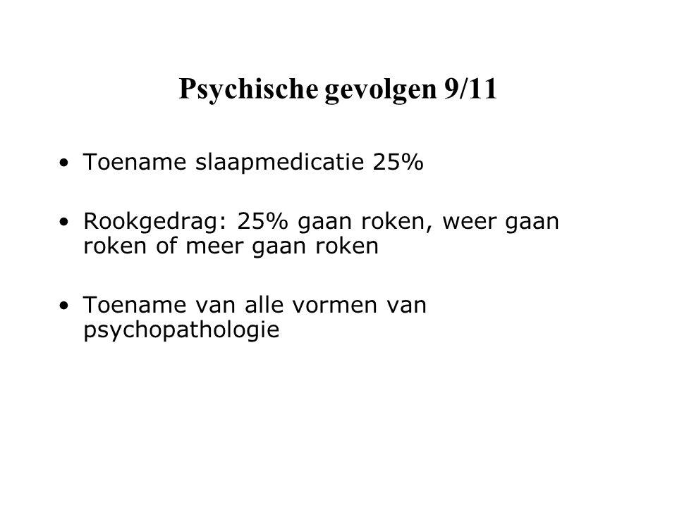 Psychische gevolgen 9/11 Toename slaapmedicatie 25% Rookgedrag: 25% gaan roken, weer gaan roken of meer gaan roken Toename van alle vormen van psychopathologie