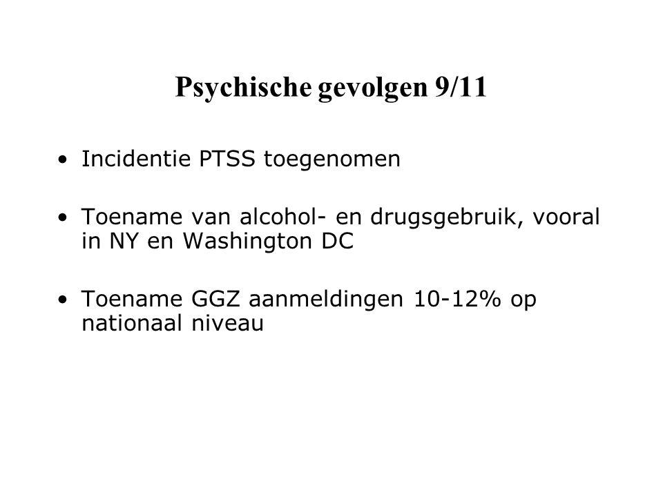 Psychische gevolgen 9/11 Incidentie PTSS toegenomen Toename van alcohol- en drugsgebruik, vooral in NY en Washington DC Toename GGZ aanmeldingen 10-12% op nationaal niveau