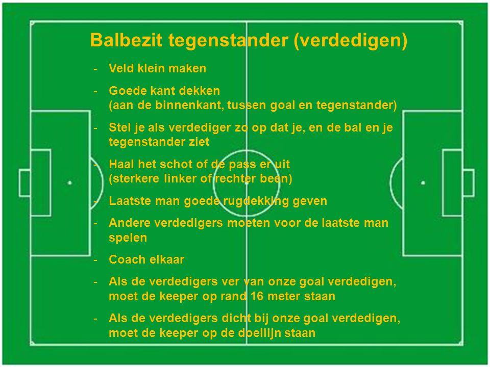 Balbezit tegenstander (verdedigen) -Veld klein maken -Goede kant dekken (aan de binnenkant, tussen goal en tegenstander) -Stel je als verdediger zo op
