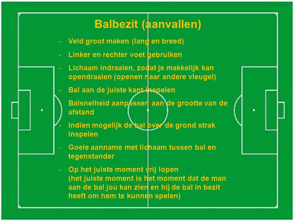 Balbezit (aanvallen) -Veld groot maken (lang en breed) -Linker en rechter voet gebruiken -Lichaam indraaien, zodat je makkelijk kan opendraaien (opene