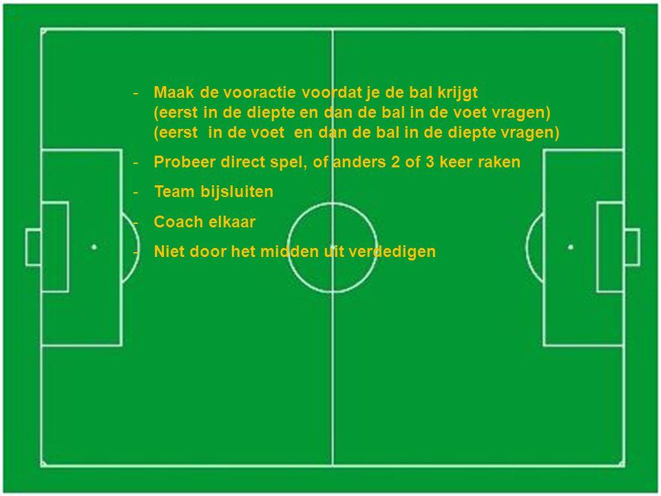 -Maak de vooractie voordat je de bal krijgt (eerst in de diepte en dan de bal in de voet vragen) (eerst in de voet en dan de bal in de diepte vragen)