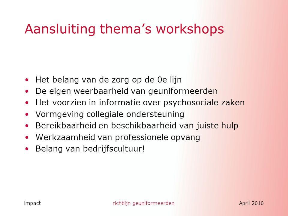 impactrichtlijn geuniformeerdenApril 2010 Aansluiting thema's workshops Het belang van de zorg op de 0e lijn De eigen weerbaarheid van geuniformeerden