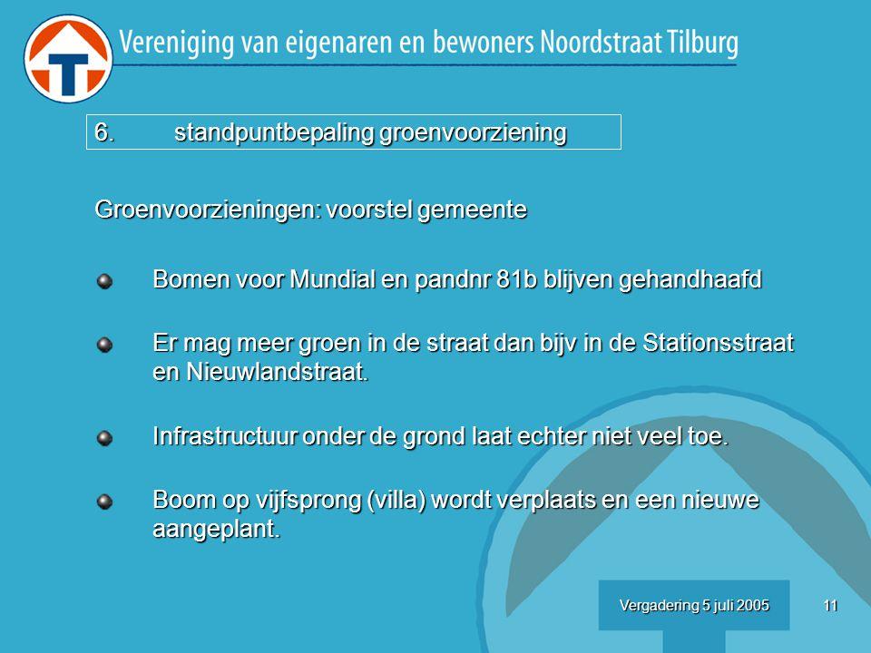 11Vergadering 5 juli 2005 Groenvoorzieningen: voorstel gemeente Bomen voor Mundial en pandnr 81b blijven gehandhaafd Er mag meer groen in de straat dan bijv in de Stationsstraat en Nieuwlandstraat.