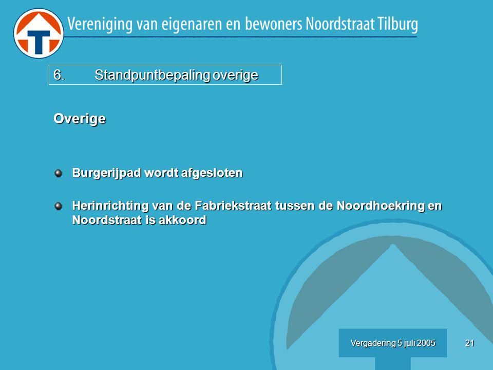 21Vergadering 5 juli 2005 Overige Burgerijpad wordt afgesloten Herinrichting van de Fabriekstraat tussen de Noordhoekring en Noordstraat is akkoord 6.Standpuntbepaling overige