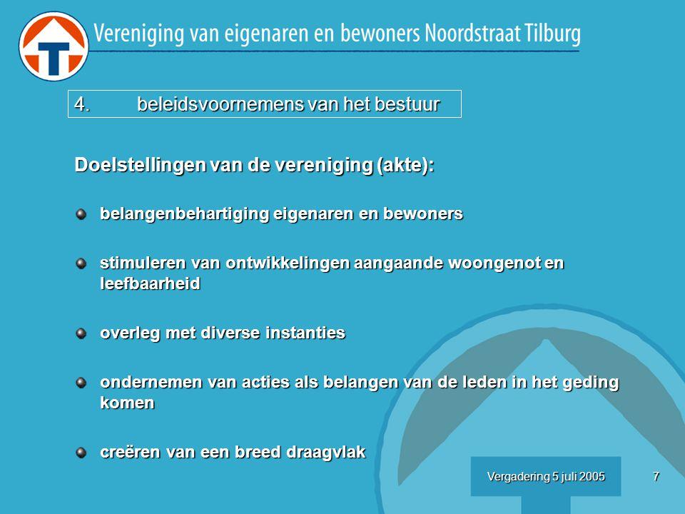 18Vergadering 5 juli 2005 6.standpuntbepaling straatmeubilair Straatmeubilair: voorstel gemeente wij kunnen wensen kenbaar over : afvalbakken afvalbakken fietsbeugels fietsbeugels bankjes bankjes voorstel kerngroep: akkoord met huidige voorstellen akkoord met huidige voorstellen (niet teveel afvalbakken en fietsbeugels) (niet teveel afvalbakken en fietsbeugels) bankjes: voor de villa, bij pandnr 87/98 en 111 bankjes: voor de villa, bij pandnr 87/98 en 111