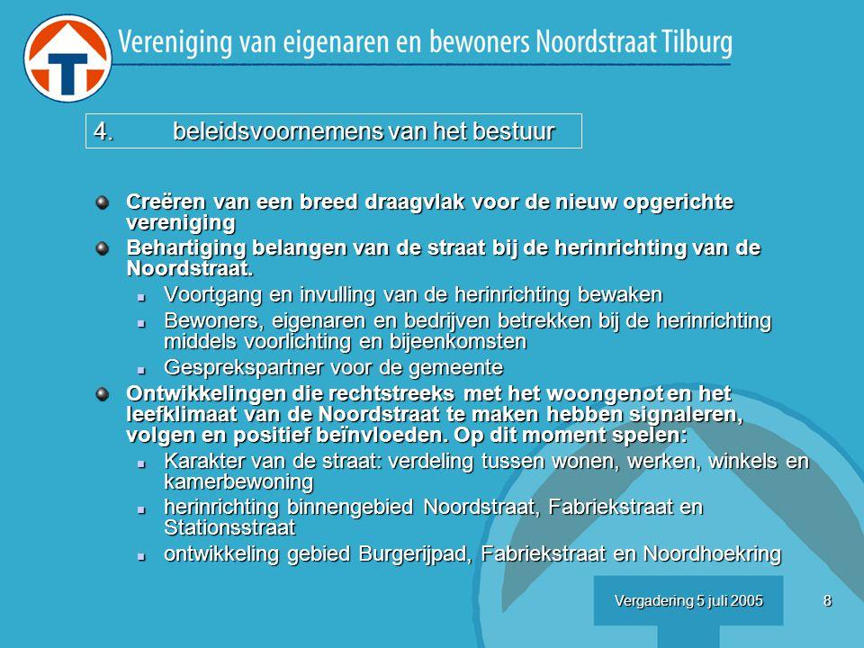 8Vergadering 5 juli 2005 Creëren van een breed draagvlak voor de nieuw opgerichte vereniging Behartiging belangen van de straat bij de herinrichting van de Noordstraat.