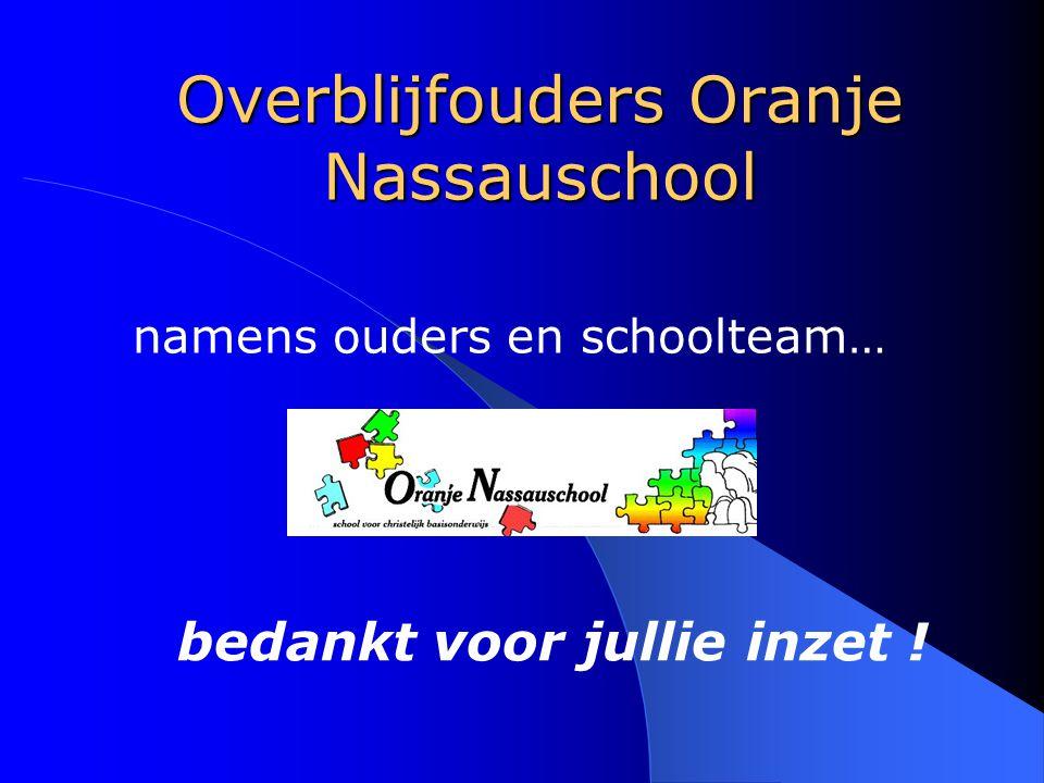 Overblijfouders Oranje Nassauschool namens ouders en schoolteam… bedankt voor jullie inzet !
