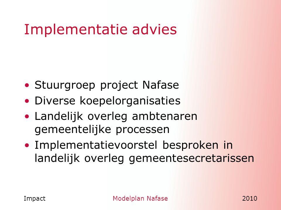 ImpactModelplan Nafase2010 Implementatie advies Stuurgroep project Nafase Diverse koepelorganisaties Landelijk overleg ambtenaren gemeentelijke proces