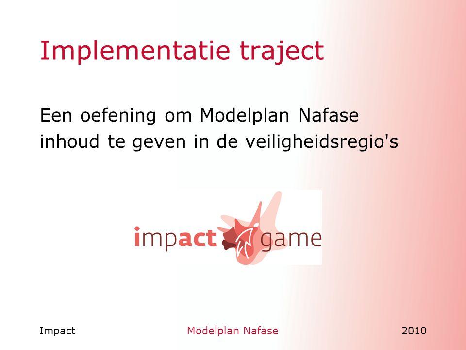 ImpactModelplan Nafase2010 Implementatie traject Een oefening om Modelplan Nafase inhoud te geven in de veiligheidsregio's