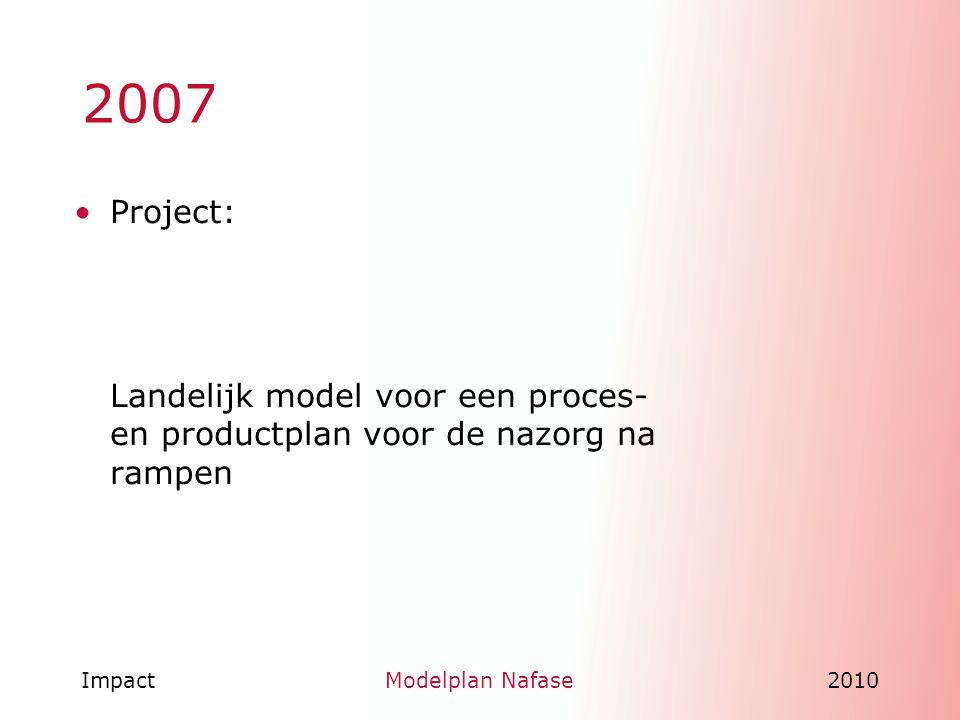 ImpactModelplan Nafase2010 2007 Project: Landelijk model voor een proces- en productplan voor de nazorg na rampen