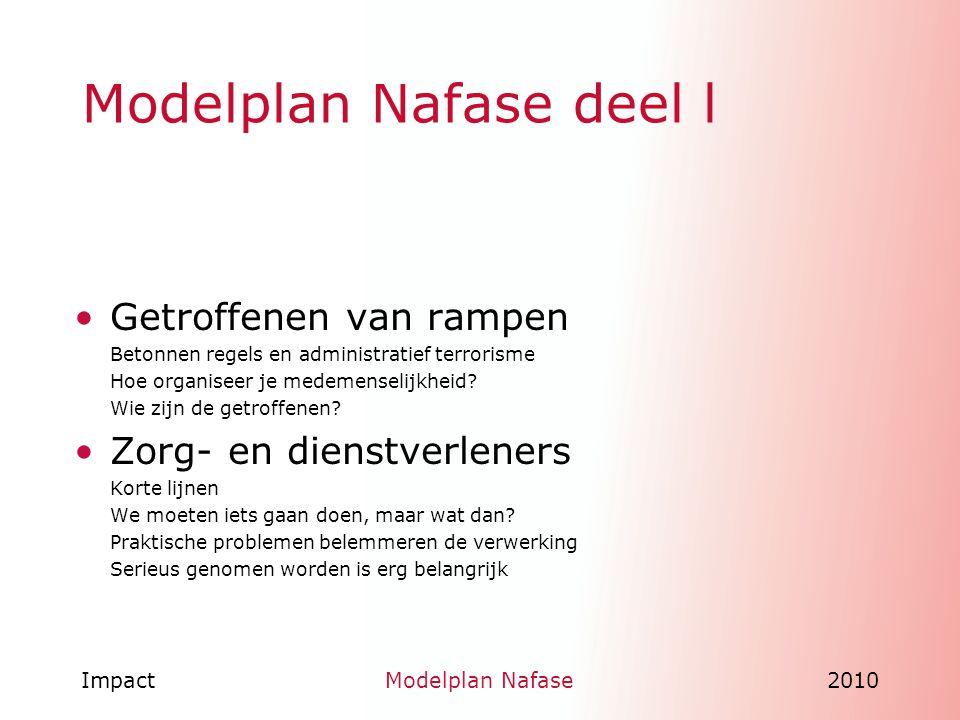 ImpactModelplan Nafase2010 Implementatie traject Een oefening om Modelplan Nafase inhoud te geven in de veiligheidsregio s