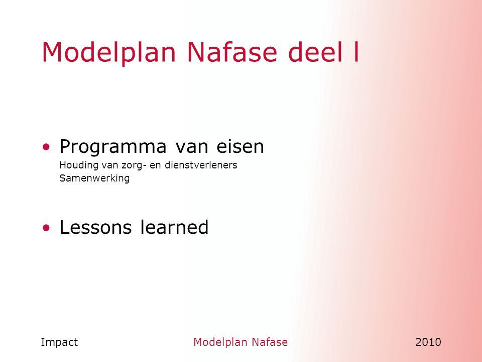 ImpactModelplan Nafase2010 Lessons learned Regie en samenwerking in de nazorg na rampen.
