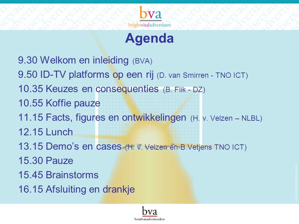 Agenda 9.30 Welkom en inleiding (BVA) 9.50 ID-TV platforms op een rij (D.