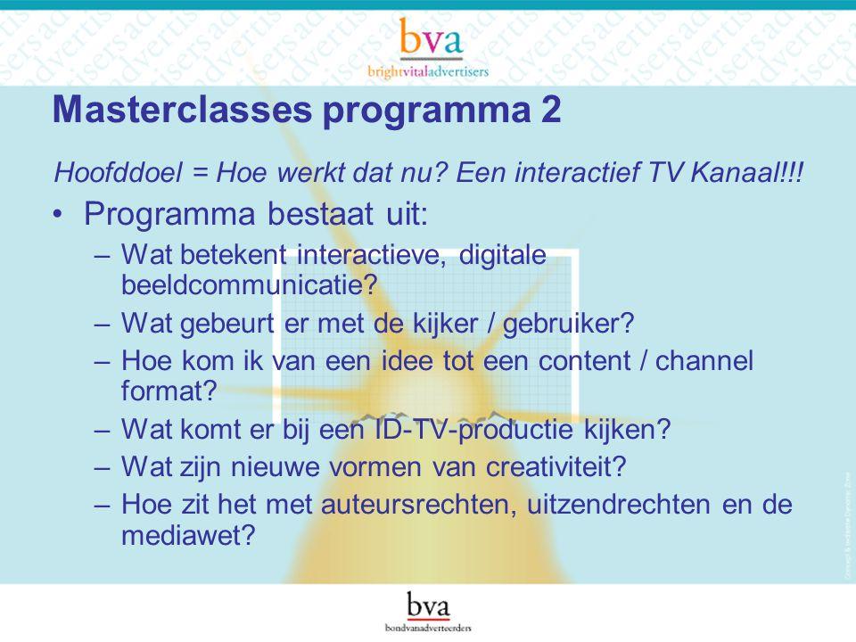 Masterclasses programma 2 Hoofddoel = Hoe werkt dat nu.
