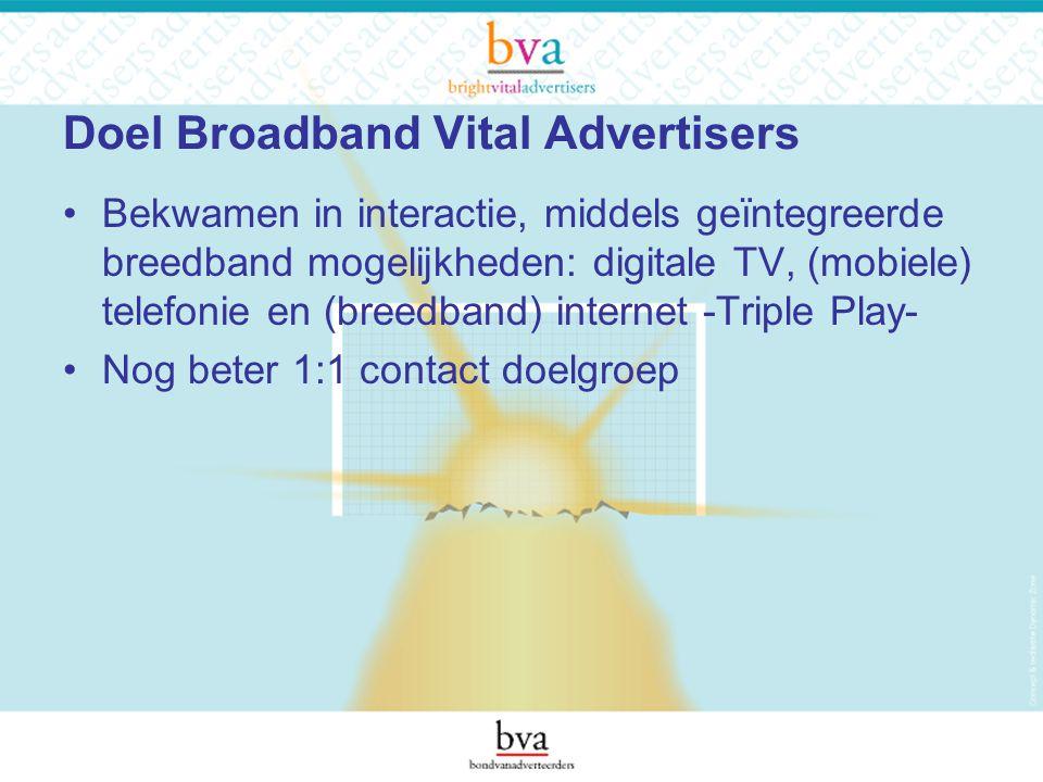 Doel Broadband Vital Advertisers Bekwamen in interactie, middels geïntegreerde breedband mogelijkheden: digitale TV, (mobiele) telefonie en (breedband) internet -Triple Play- Nog beter 1:1 contact doelgroep