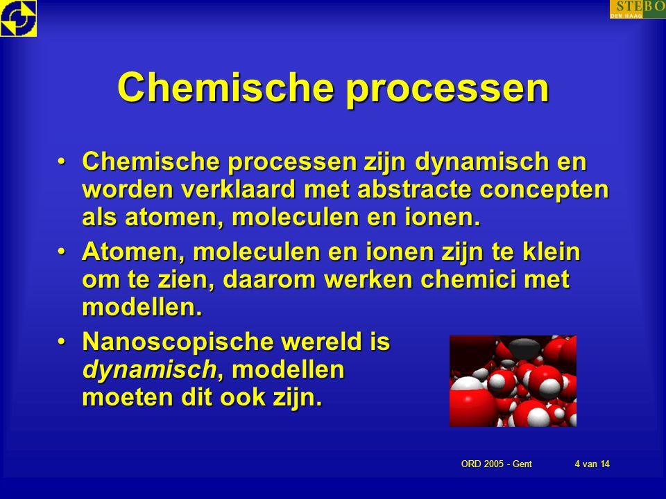 ORD 2005 - Gent4 van 14 Chemische processen Chemische processen zijn dynamisch en worden verklaard met abstracte concepten als atomen, moleculen en io