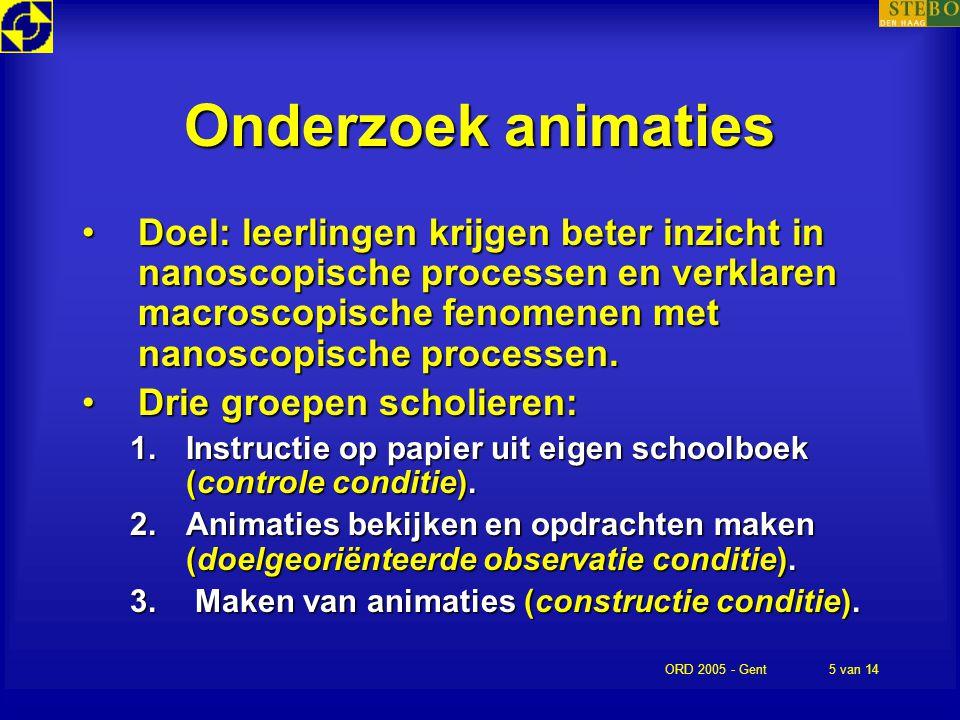 ORD 2005 - Gent5 van 14 Onderzoek animaties Doel: leerlingen krijgen beter inzicht in nanoscopische processen en verklaren macroscopische fenomenen me