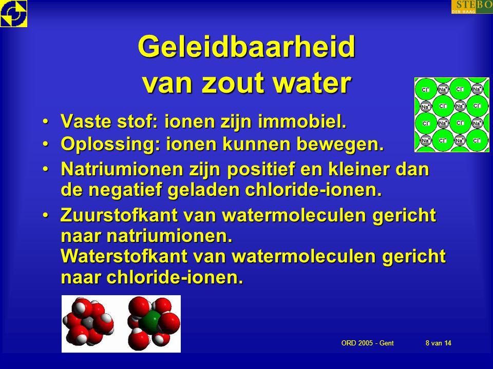 ORD 2005 - Gent8 van 14 Geleidbaarheid van zout water Vaste stof: ionen zijn immobiel.Vaste stof: ionen zijn immobiel. Oplossing: ionen kunnen bewegen