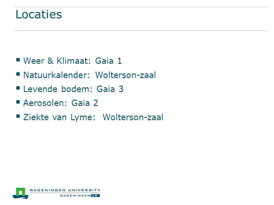 Locaties  Weer & Klimaat: Gaia 1  Natuurkalender: Wolterson-zaal  Levende bodem: Gaia 3  Aerosolen: Gaia 2  Ziekte van Lyme: Wolterson-zaal