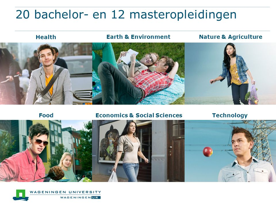 20 bachelor- en 12 masteropleidingen FoodEconomics & Social SciencesTechnology Nature & AgricultureEarth & Environment Health