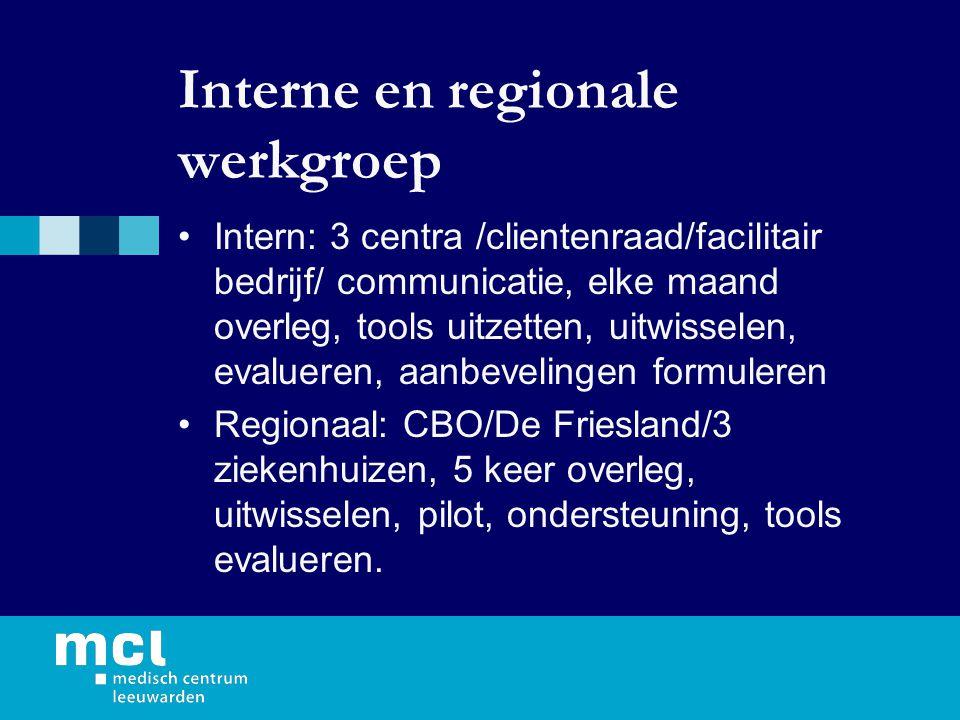 Interne en regionale werkgroep Intern: 3 centra /clientenraad/facilitair bedrijf/ communicatie, elke maand overleg, tools uitzetten, uitwisselen, evalueren, aanbevelingen formuleren Regionaal: CBO/De Friesland/3 ziekenhuizen, 5 keer overleg, uitwisselen, pilot, ondersteuning, tools evalueren.