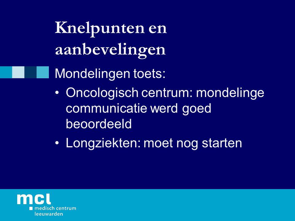 Knelpunten en aanbevelingen Mondelingen toets: Oncologisch centrum: mondelinge communicatie werd goed beoordeeld Longziekten: moet nog starten