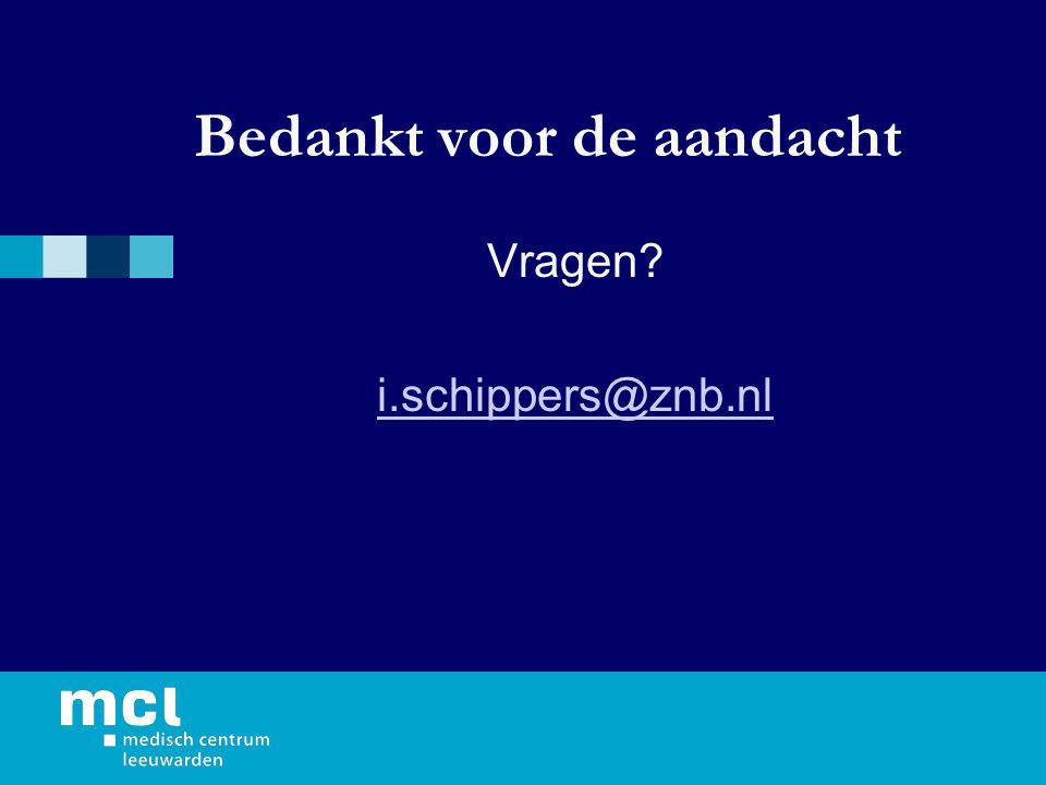 Bedankt voor de aandacht Vragen i.schippers@znb.nl