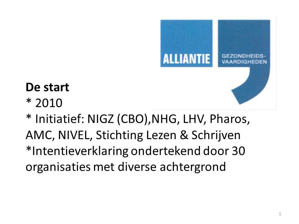 De start * 2010 * Initiatief: NIGZ (CBO),NHG, LHV, Pharos, AMC, NIVEL, Stichting Lezen & Schrijven *Intentieverklaring ondertekend door 30 organisaties met diverse achtergrond 1